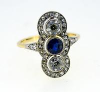 Fine Victorian 3 Stone Sapphire Diamond Ring