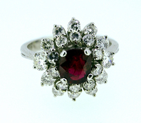 1950s Retro Burma Ruby Diamond Cluster Ring