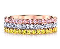 Tri-Color Fancy Pink Yellow Diamond Band Ring