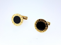 Bulgari Bvlgari 18K Gold Onyx Cufflinks Pair