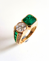 c1970 ILLARIO Diamond Emerald Moi et Toi Ring