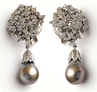 Vintage Large Tahitian Pearl Diamond Earrings