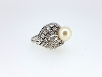 1940s Natural Saltwater Pearl Diamond Ring
