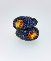 Blue & Orange Burma Sapphire Crossover Ring