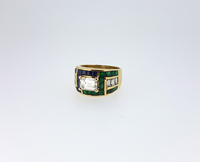 ADLER Diamond Emerald Sapphire Meander Ring