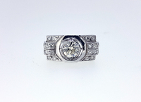 1920 Art Deco Diamond Solitaire Platinum Ring