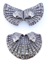 AUCOC Art Deco Double Clip Diamond Brooch