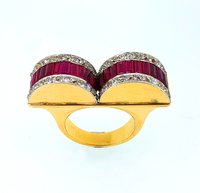 Art Deco 1930s Ruby Diamond Two Finger Ring